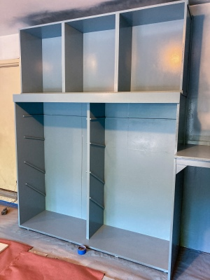Second coat of Waterborne Alkyd on cabinet frames