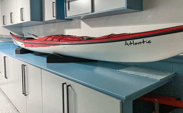 Treasured kayak sitting on its tabletop