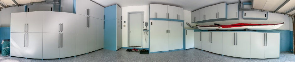Finished garage, with all tools and stuff except for the Kayak safely put away behind cabinets and out of sight. 180° panoramic shot.