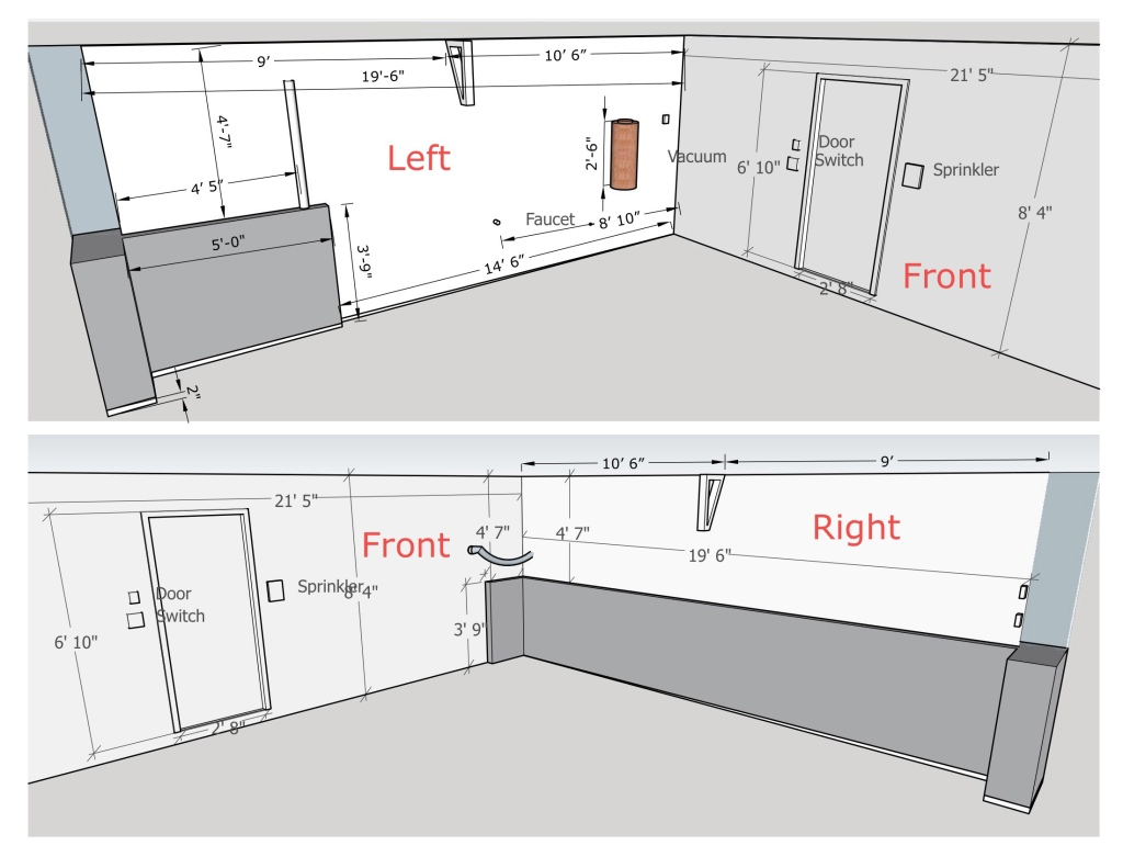 Mapping out room dimensions, and various constraints