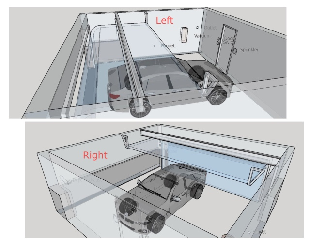 Overall dimension of the garage, with the car in the picture for comparison
